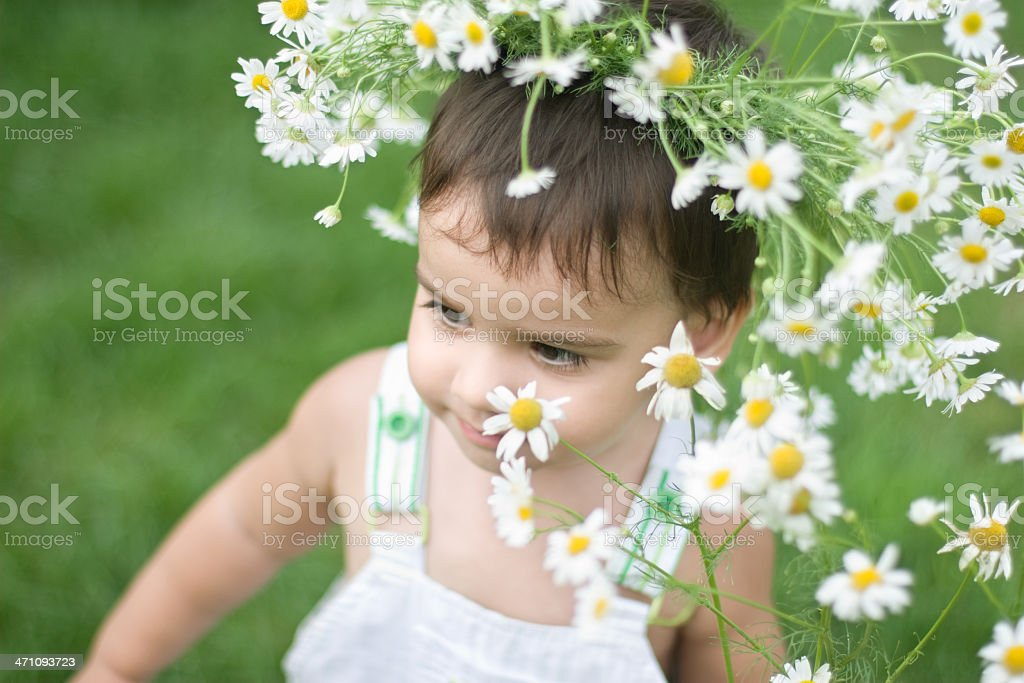 baby among flowers royalty-free stock photo