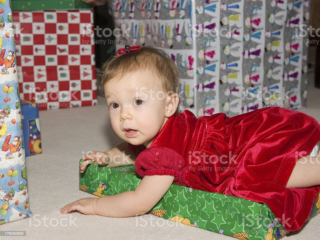 Baby among the Presents royalty-free stock photo