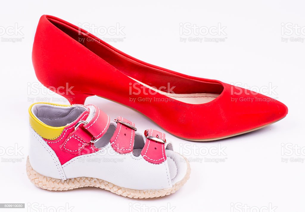 Baby Und Erwachsenen Schuh Isoliert Stockfoto Und Mehr Bilder Von