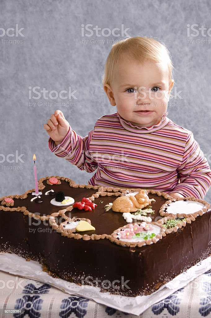 Baby and Cake royalty-free stock photo