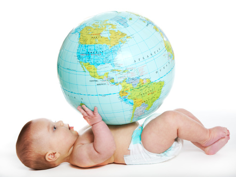 Baby And Earth Globe Stock Photo - Download Image Now