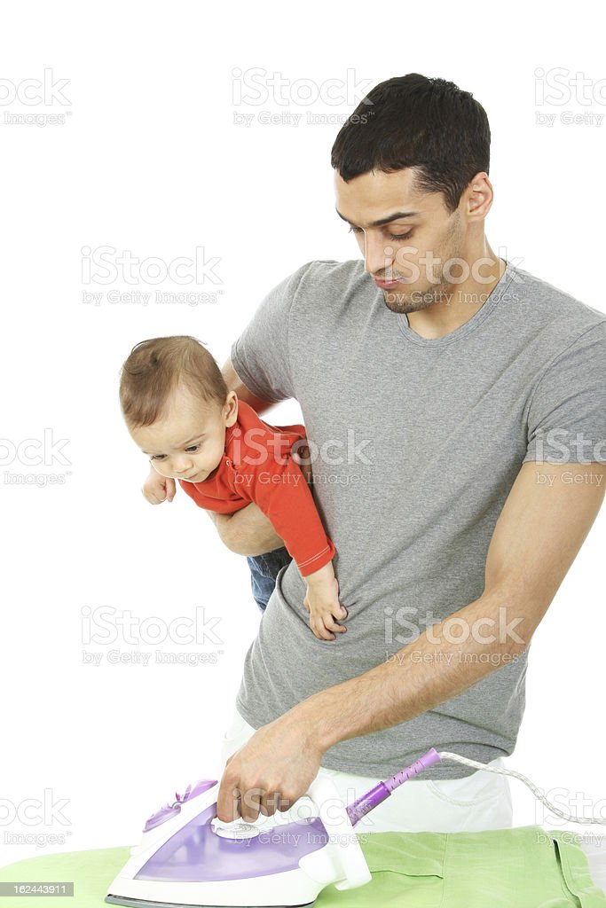 Baby and Father - Housework stock photo