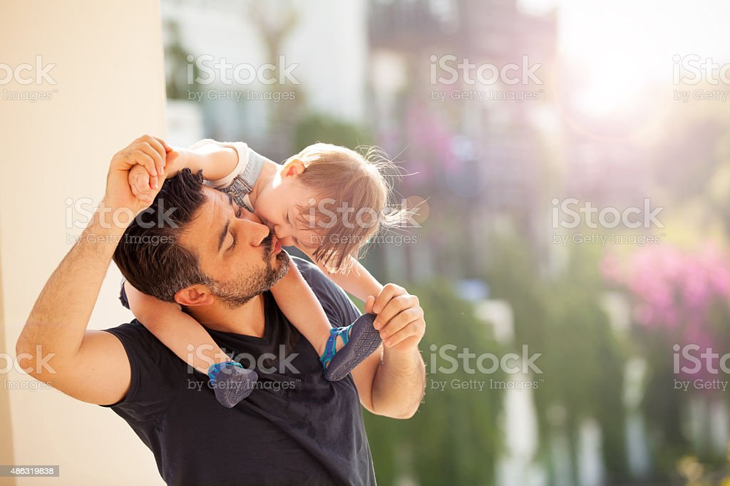 Baby and Father stock photo