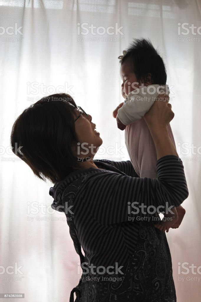 Baby and Grandma stock photo