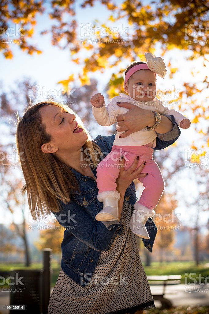 Baby and her aunt stock photo