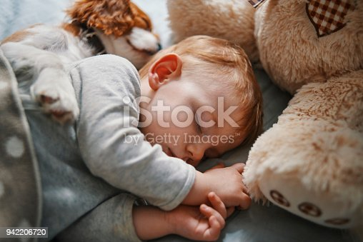 942206906 istock photo baby and his puppy sleeping peacefully 942206720