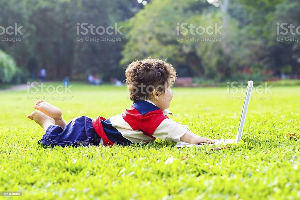 baby and laptop royalty-free stock photo