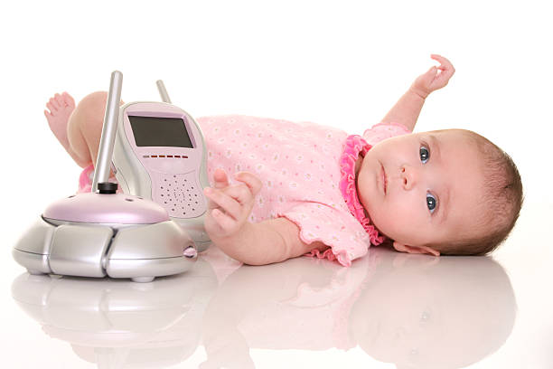baby and monitor stock photo