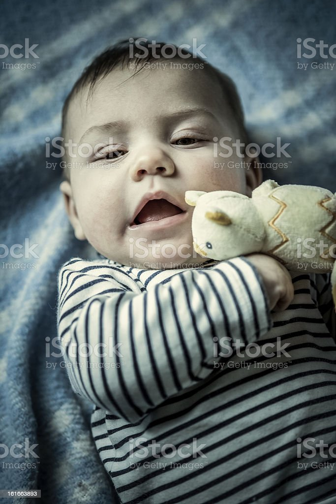 baby and plush royalty-free stock photo