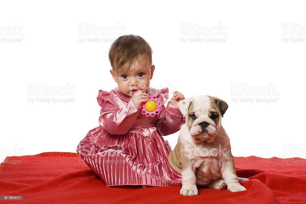 Baby and puppy royalty-free stock photo