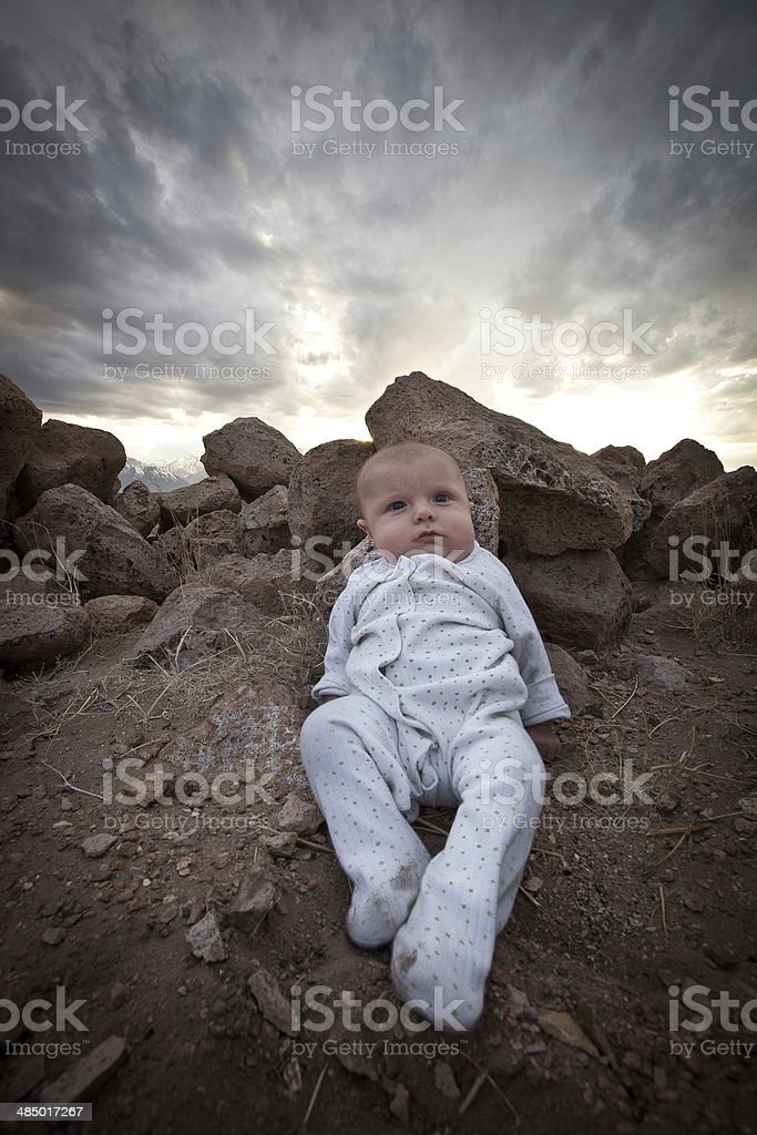 Baby and Sky stock photo