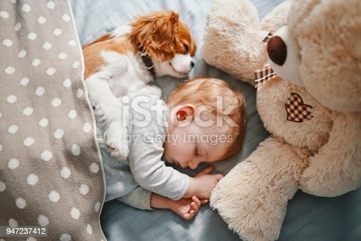 942206906 istock photo baby and the puppy enjoying their nap together 947237412