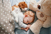 istock baby and the puppy enjoying their nap together 947237412