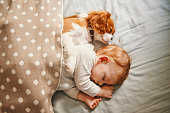 istock baby and the puppy enjoying their nap together 947237486