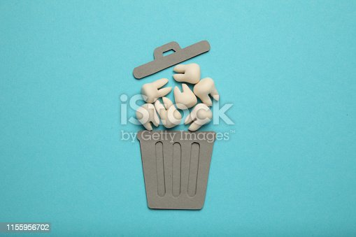 istock Baby and wisdom teeth in garbage can. Removal of teeth in children and adults, concept 1155956702