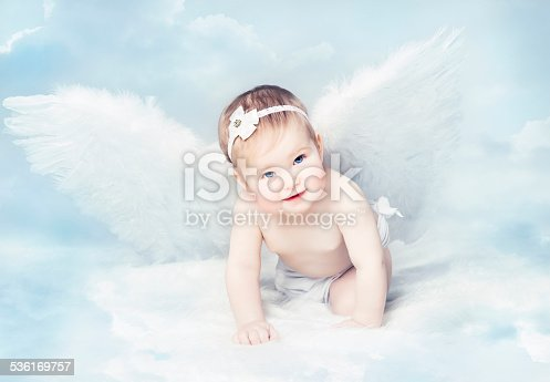 istock Baby Angel with Wings, Newborn Kid at Blue Sky Cloud 536169757