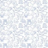 Baby animals icons seamless pattern monochrome