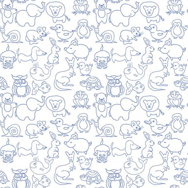 baby tiere symbole nahtlose musterung monochrom - maus comic stock-fotos und bilder