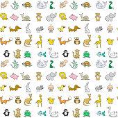 istock Baby animals icons seamless pattern 526734778
