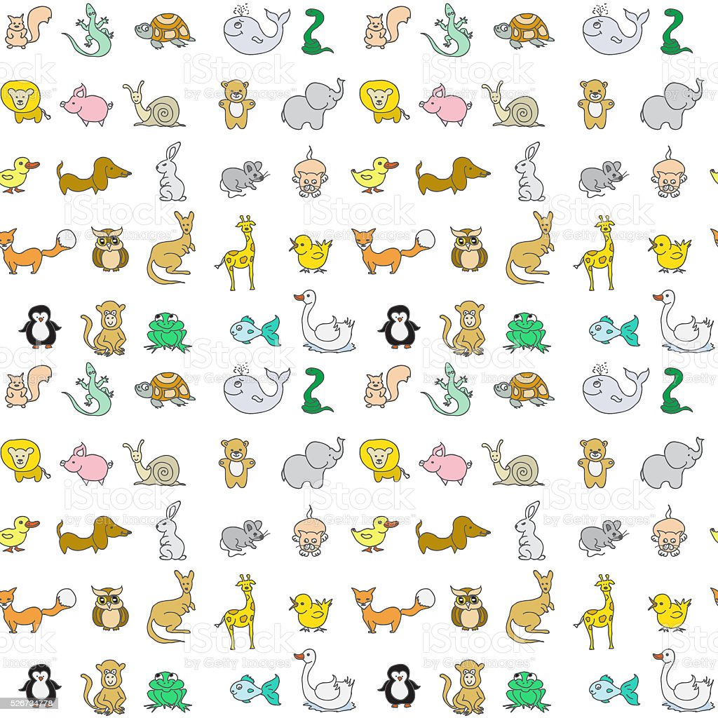 Baby animals icons seamless pattern stock photo