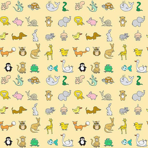 baby tiere symbole nahtlose musterung - maus comic stock-fotos und bilder
