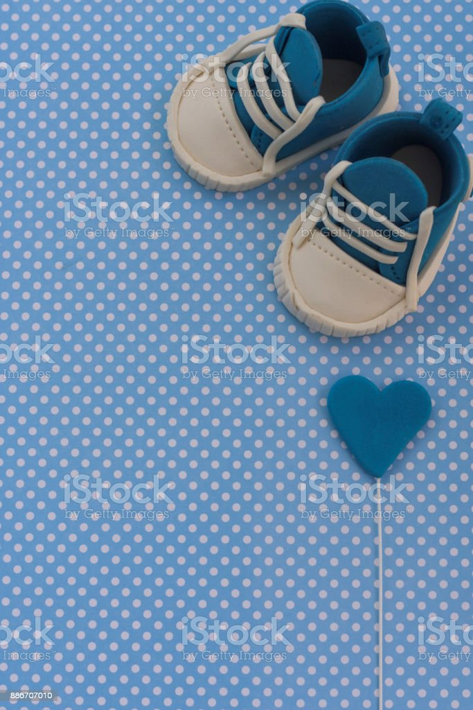 Baby announcement. Newborn background. Fondant accesories stock photo