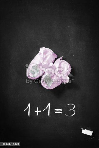 istock Baby Announcement with Shoes for a Boy 460326969