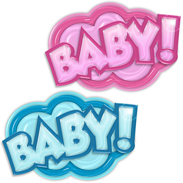baby arrival badges stock photo