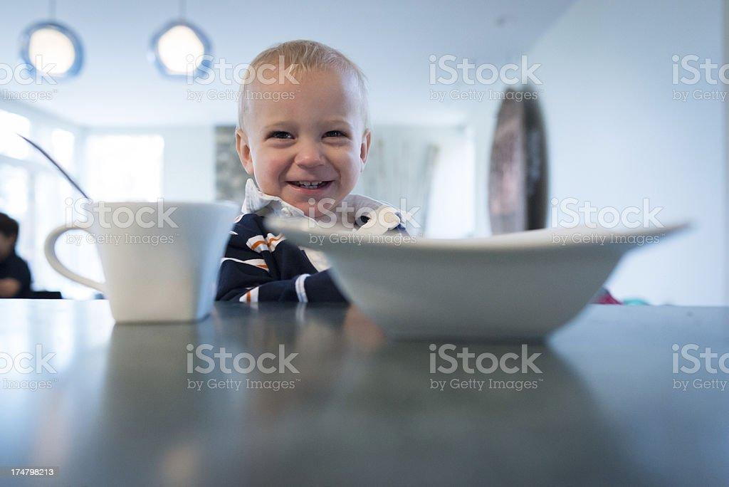 Baby at Breakfast royalty-free stock photo