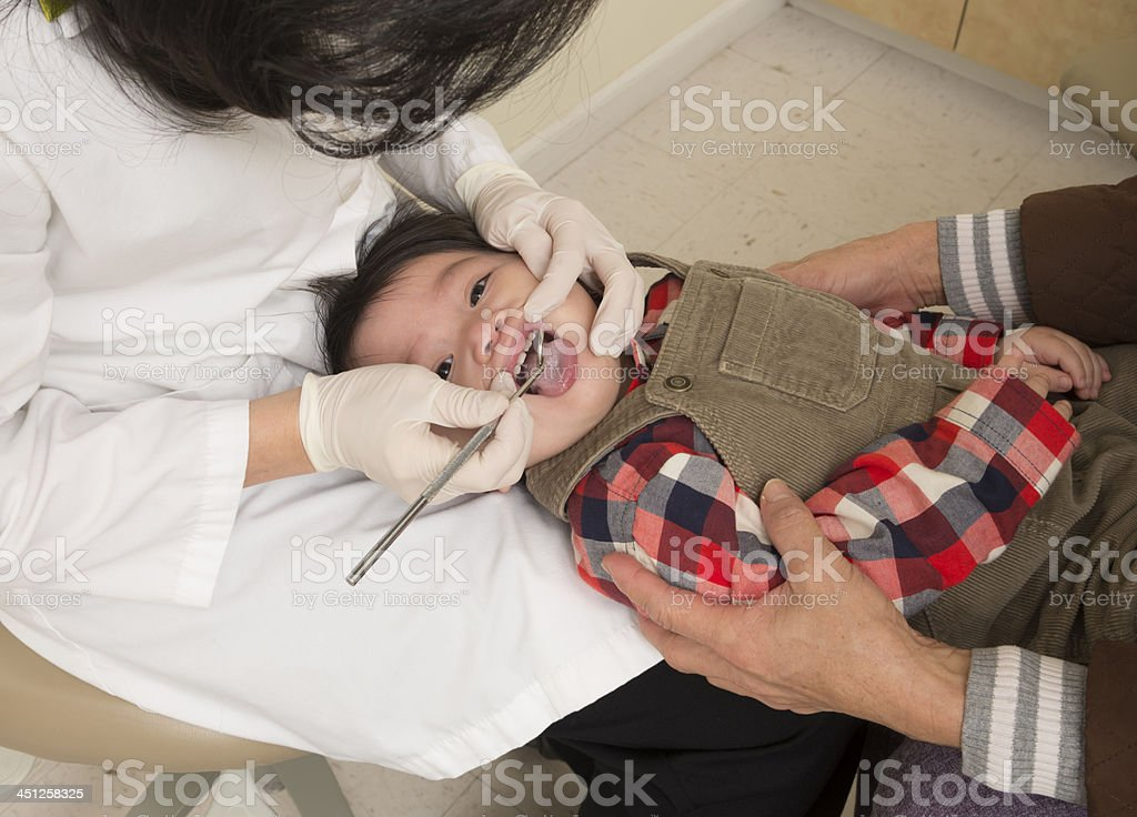Baby At Dentist Appointment stock photo