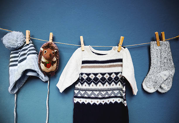 Baby autumn or winter fashion concept background. stock photo