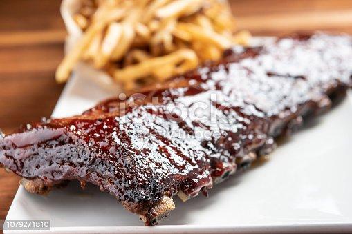 Baby back ribs, Full Rack, Dry Rub, House-Smoked, Hand-Cut Frites