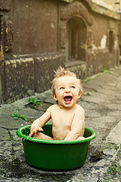 Baby Bath In Wash Tub Stock Photo & More Pictures of 12-17 Months ...