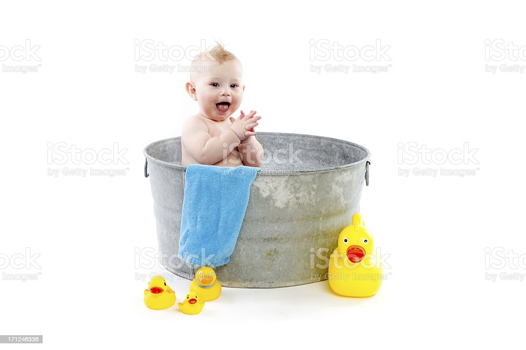Baby Bath isolated on white stock photo