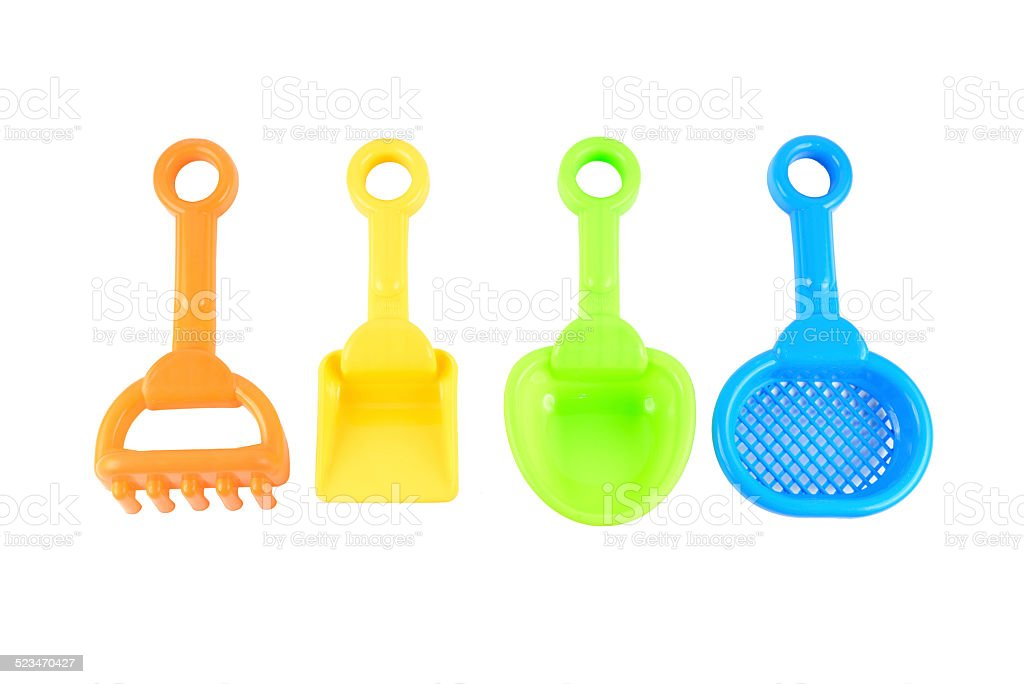 Baby beach sand toys stock photo