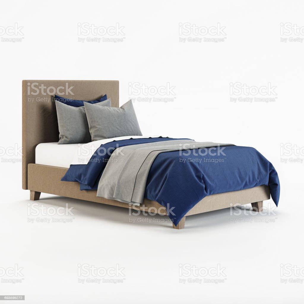 Baby-Bett auf einem weißen Hintergrund. 3D-Rendering. – Foto