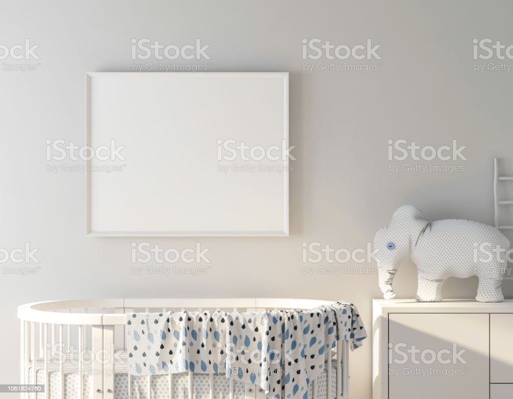 Baby bed with frame poster mockup stock photo