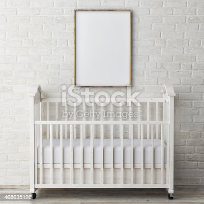 619975932 istock photo baby bed with mock up poster, 3d illustration 468635126