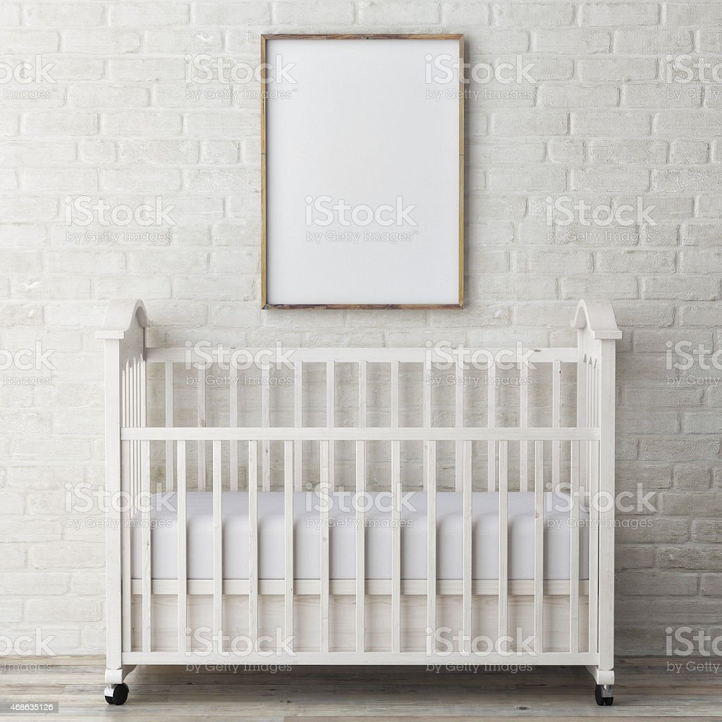 baby bed with mock up poster, 3d illustration stock photo