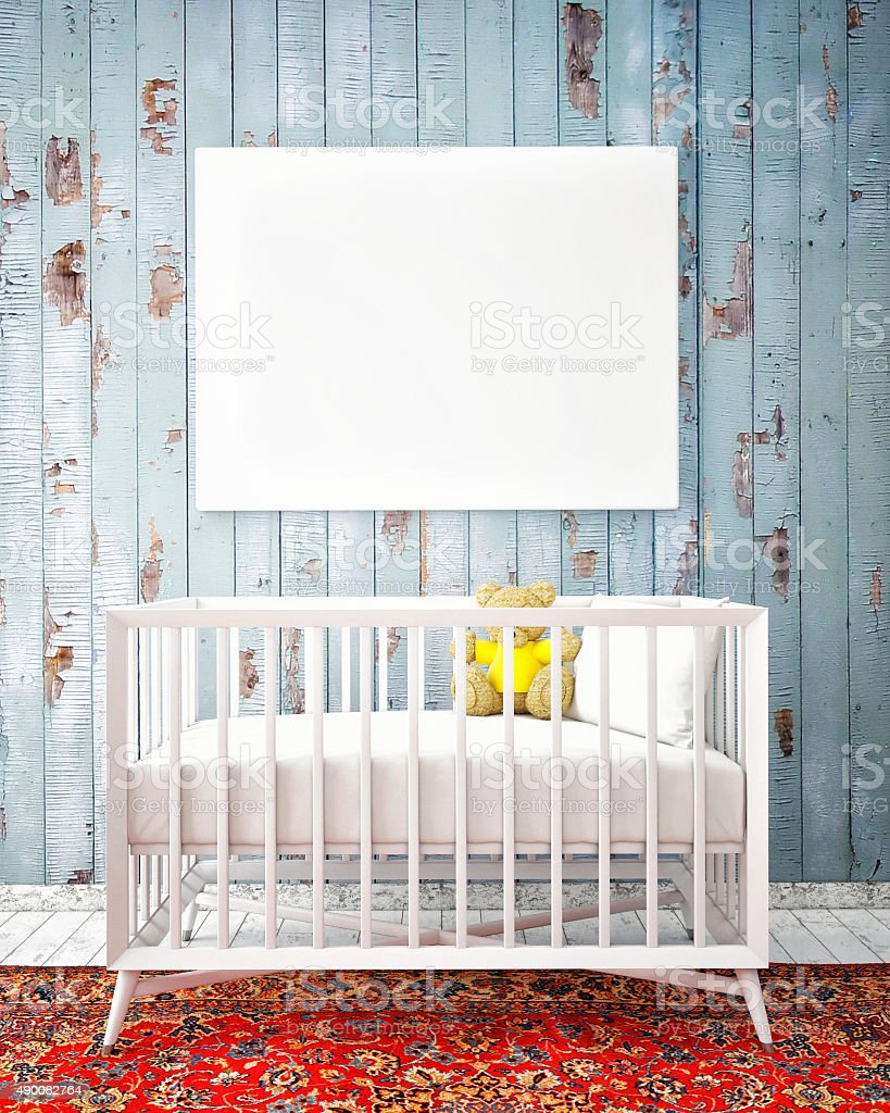 baby bed with mock up poster, hipster design stock photo