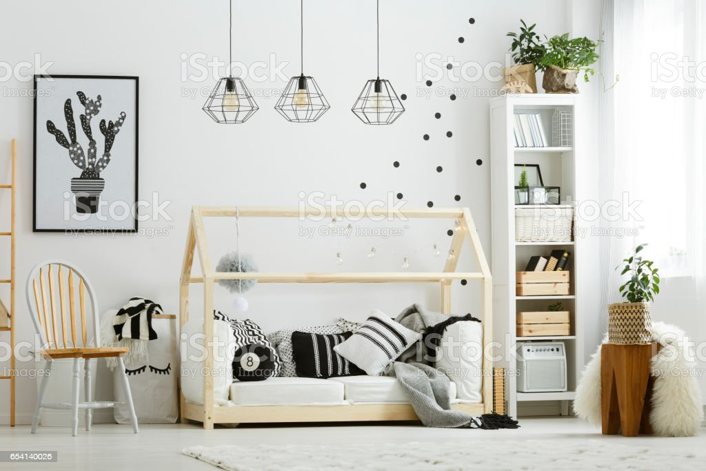 Baby bedroom in scandinavian style stock photo