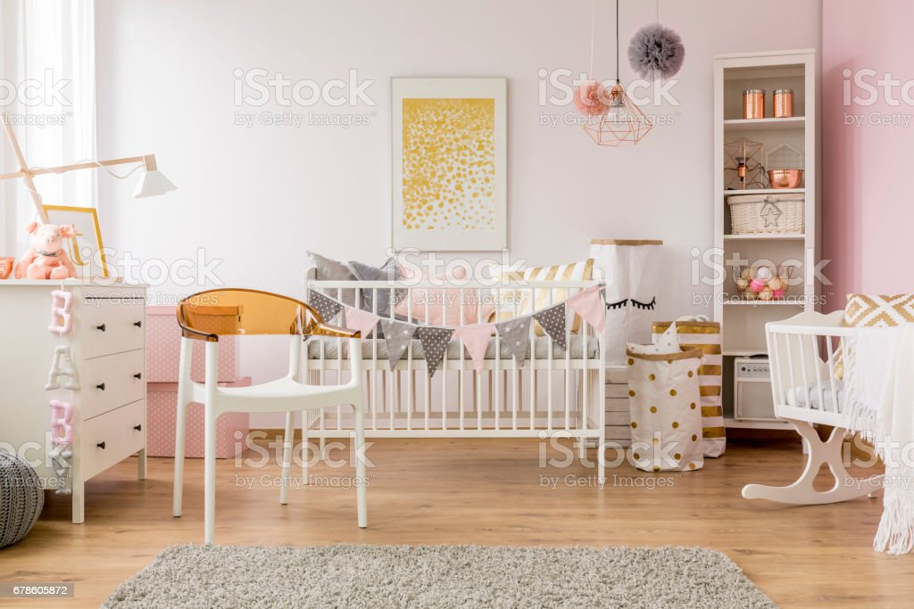 Baby Bedroom With White Chair Stock Photo - Download Image ...