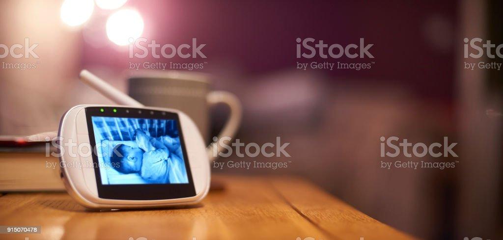 Baby bedtime monitor stock photo