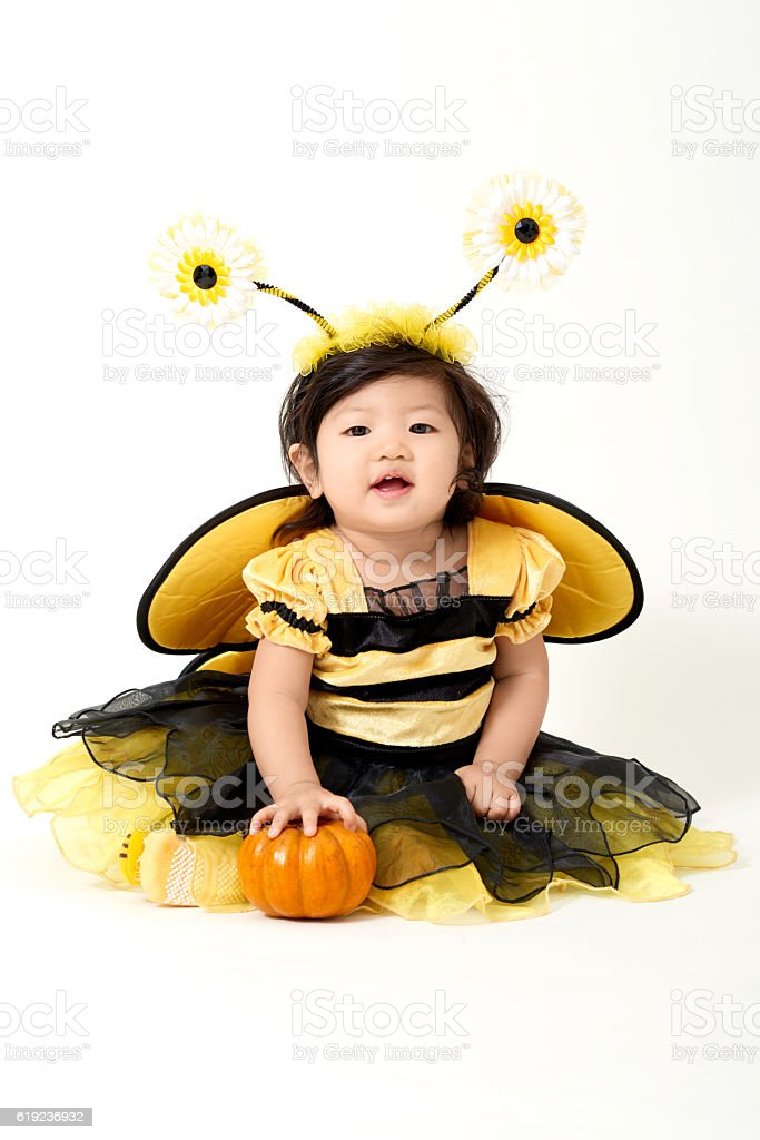 Baby Bee ready for Halloween stock photo