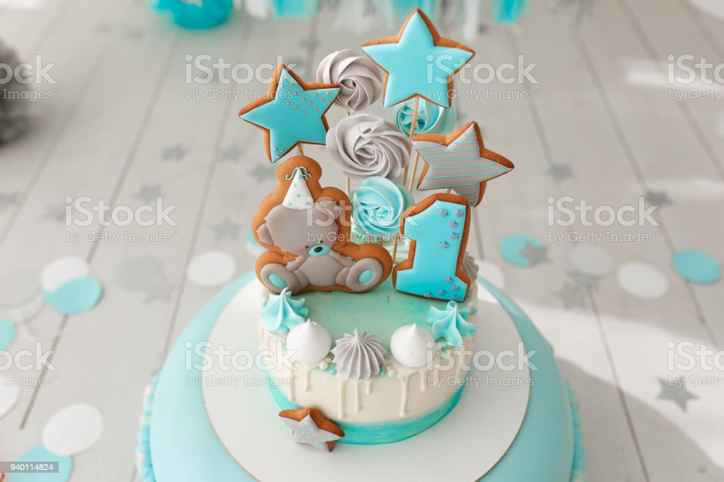 Fine Baby Birthday Cake Gingerbread And Bisquit Decor Tiffany Color Funny Birthday Cards Online Hetedamsfinfo