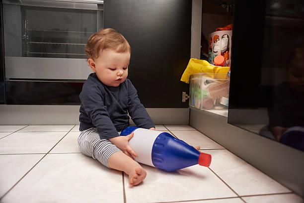 Baby Bleach Kitchen Danger stock photo