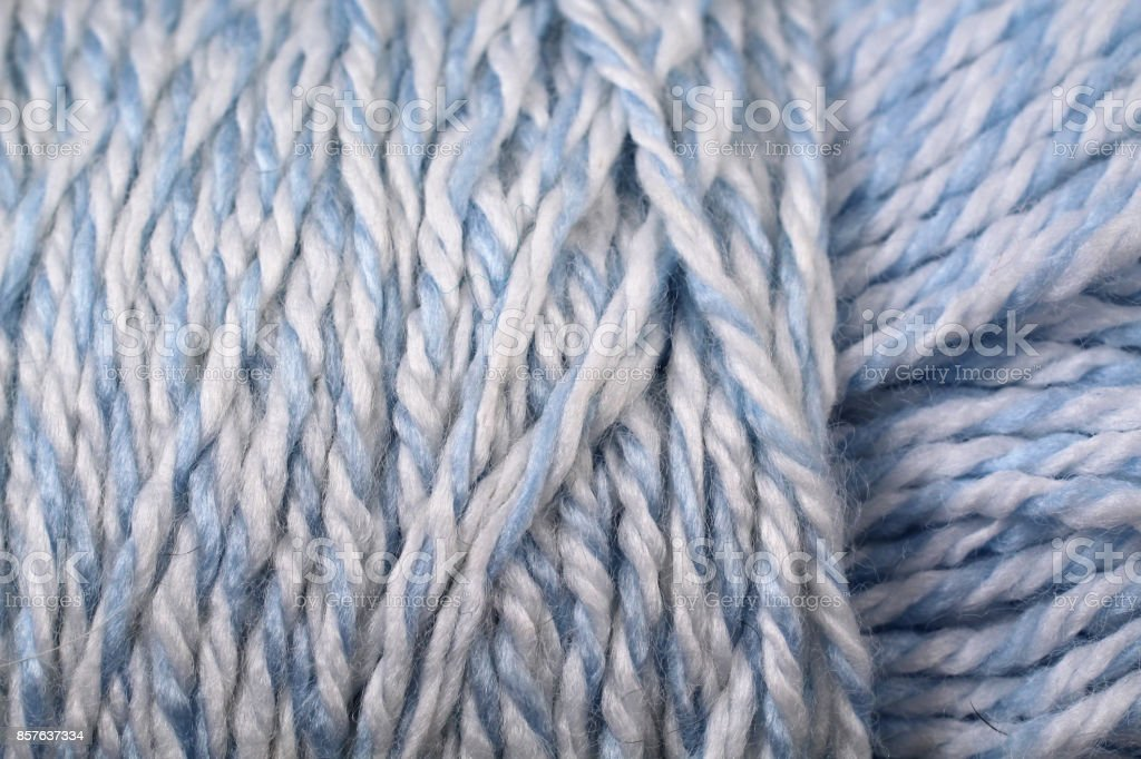 Baby Blue And White Yarn Texture Close Up stock photo