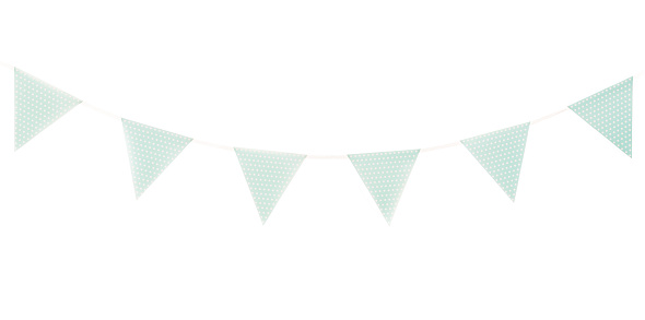 Baby blue/turqoise Pennant isolated on white