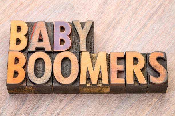 Baby boomers word abstract in wood type stock photo