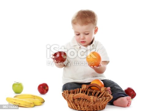 Baby Boy And Fruits Stock Photo & More Pictures of Apple - Fruit